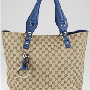 GUCCI Limited Edition Beige/Blue Tote Bag